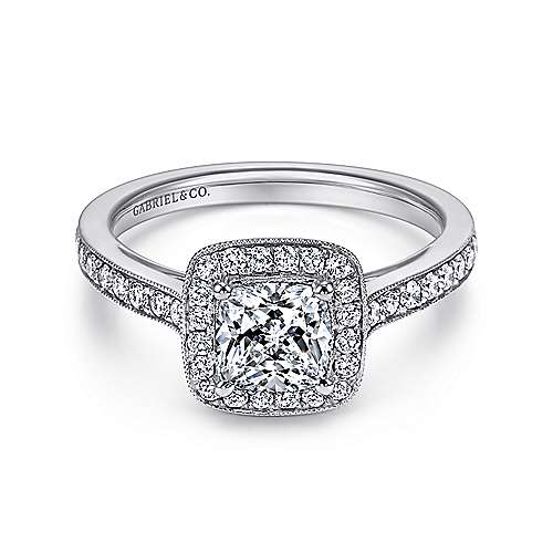 Gabriel - Harper Platinum Cushion Cut Halo Engagement Ring
