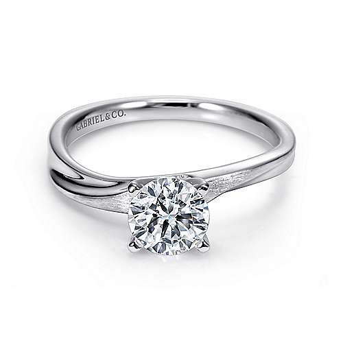 Hattie 14k White Gold Round Solitaire Engagement Ring angle 1