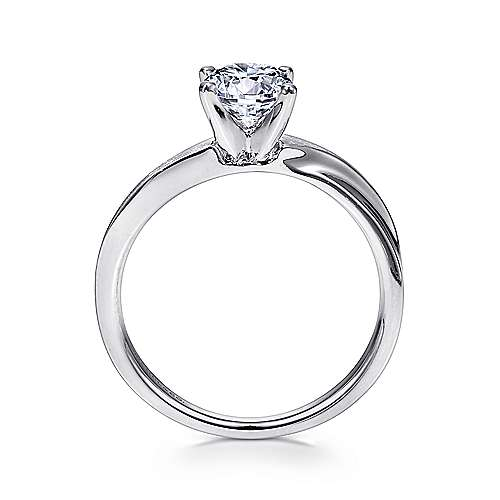 Hattie 14k White Gold Round Solitaire Engagement Ring angle 2