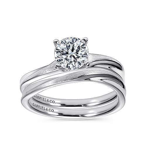Hattie 14k White Gold Round Solitaire Engagement Ring angle 4