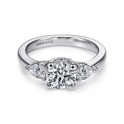 Haven 14k White Gold Round 3 Stones Engagement Ring angle 1