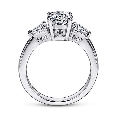 Haven 14k White Gold Round 3 Stones Engagement Ring angle 2