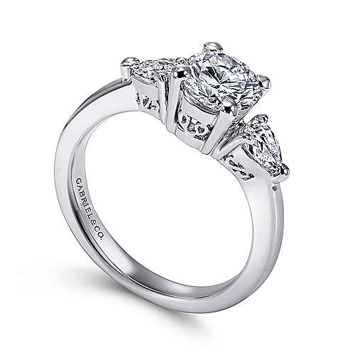 Haven 14k White Gold Round 3 Stones Engagement Ring angle 3