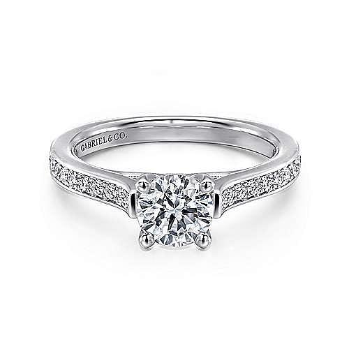 Gabriel - Hayden 14k White Gold Round Straight Engagement Ring
