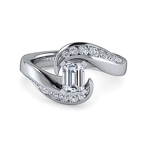 Gabriel - Hayley 14k White Gold Emerald Cut Bypass Engagement Ring