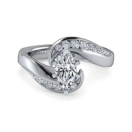 Gabriel - Hayley 14k White Gold Marquise  Bypass Engagement Ring