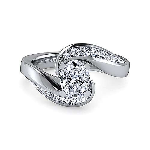Gabriel - Hayley 14k White Gold Oval Bypass Engagement Ring