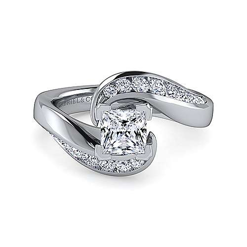 Gabriel - Hayley 14k White Gold Princess Cut Bypass Engagement Ring