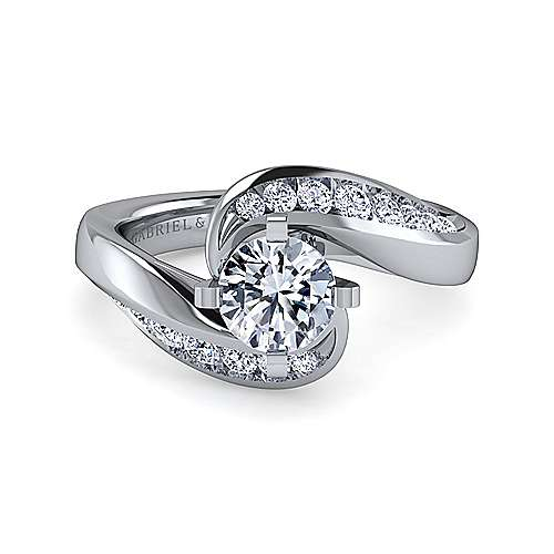 Gabriel - Hayley 18k White Gold Round Bypass Engagement Ring