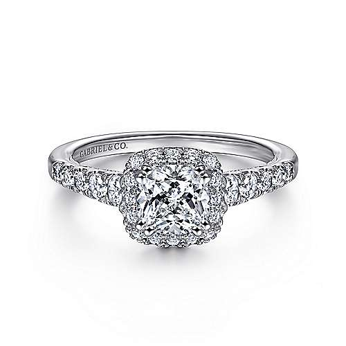 Gabriel - Hazel 14k White Gold Cushion Cut Halo Engagement Ring