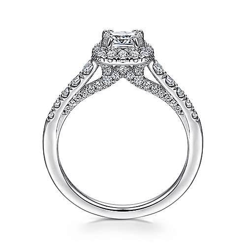 Hazel 14k White Gold Cushion Cut Halo Engagement Ring angle 2
