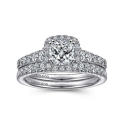 Hazel 14k White Gold Cushion Cut Halo Engagement Ring angle 4