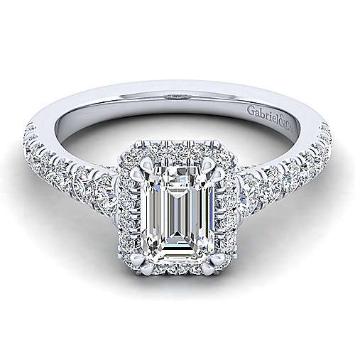 Gabriel - Hazel 14k White Gold Emerald Cut Halo Engagement Ring