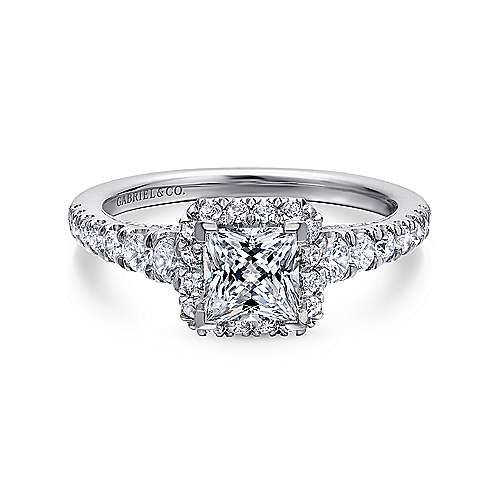 Gabriel - Hazel 14k White Gold Princess Cut Halo Engagement Ring