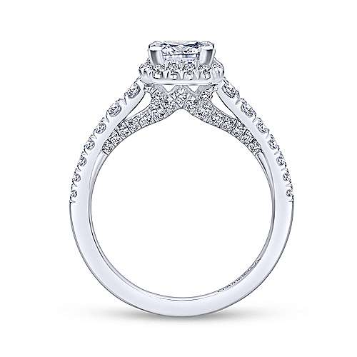 Hazel 14k White Gold Princess Cut Halo Engagement Ring angle 2