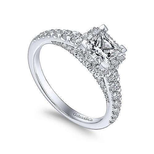 Hazel 14k White Gold Princess Cut Halo Engagement Ring angle 3