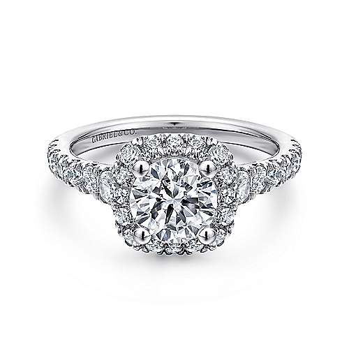 Hazel 14k White Gold Round Halo Engagement Ring