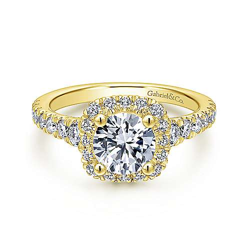 Gabriel - Hazel 14k Yellow Gold Round Halo Engagement Ring