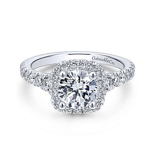 Gabriel - Hazel 18k White Gold Round Halo Engagement Ring