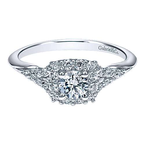 Gabriel - Heartfelt 14k White Gold Round Halo Engagement Ring