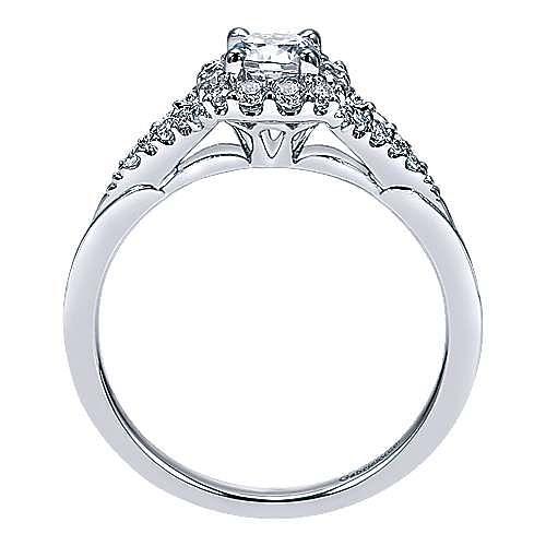 Heartfelt 14k White Gold Round Halo Engagement Ring angle 2