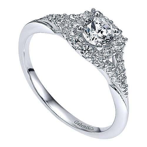Heartfelt 14k White Gold Round Halo Engagement Ring angle 3