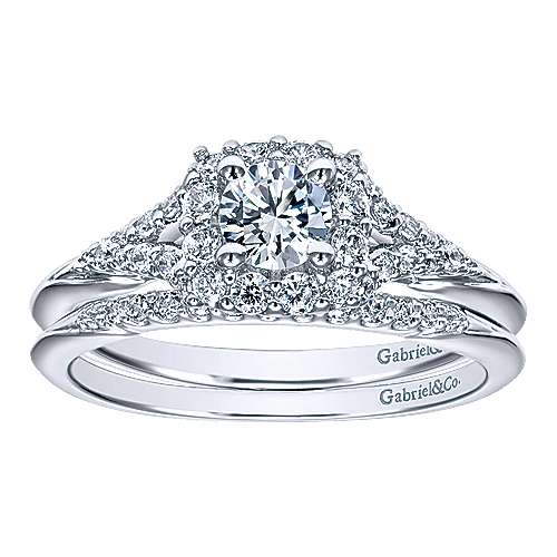 Heartfelt 14k White Gold Round Halo Engagement Ring angle 4