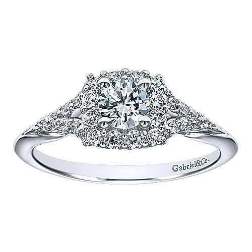 Heartfelt 14k White Gold Round Halo Engagement Ring angle 5