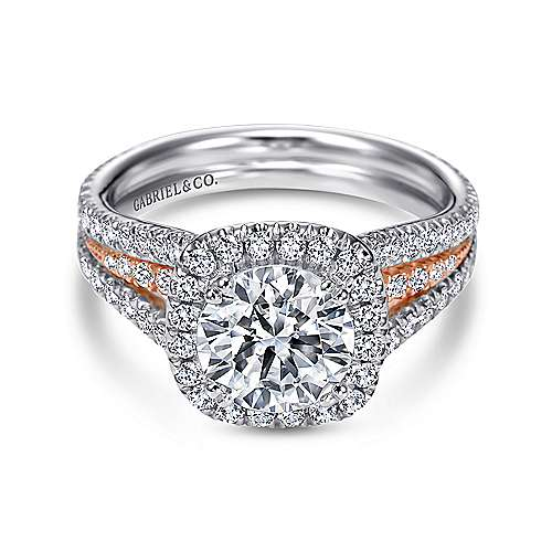 Gabriel - Heath 18k White And Rose Gold Round Halo Engagement Ring