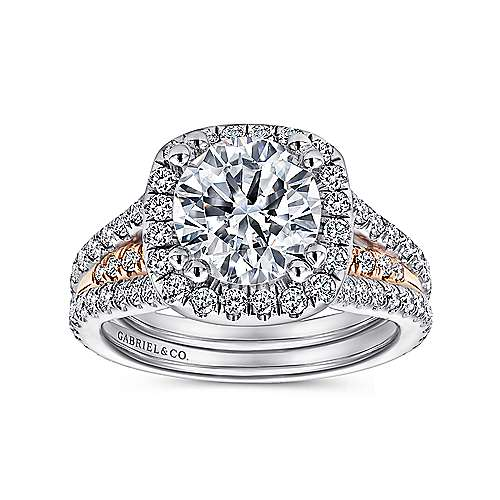Heath 18k White And Rose Gold Round Halo Engagement Ring angle 5