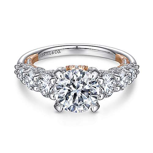 Heather 18k White And Rose Gold Round Straight Engagement Ring angle 1