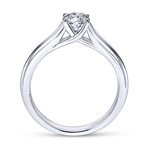 Helen 14k White Gold Round Solitaire Engagement Ring angle 2