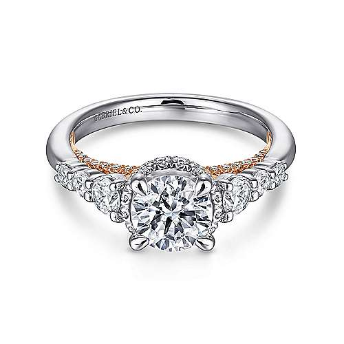 Gabriel - Helena 14k White And Rose Gold Round Straight Engagement Ring
