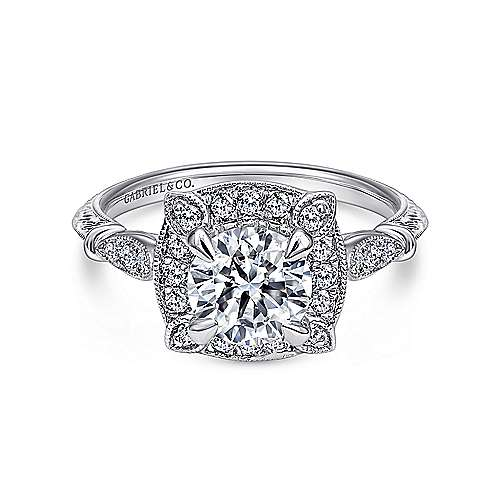 Gabriel - Helene 18k White Gold Round Halo Engagement Ring