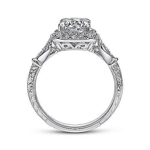 Helene 18k White Gold Round Halo Engagement Ring angle 2