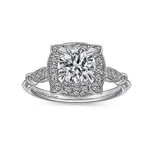 Helene 18k White Gold Round Halo Engagement Ring angle 5