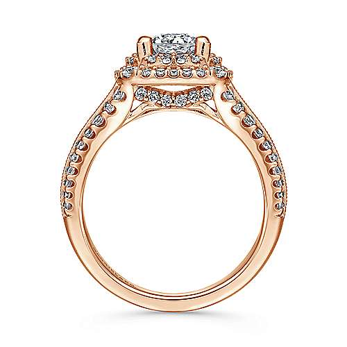 Henrietta 14k Rose Gold Round Double Halo Engagement Ring angle 2
