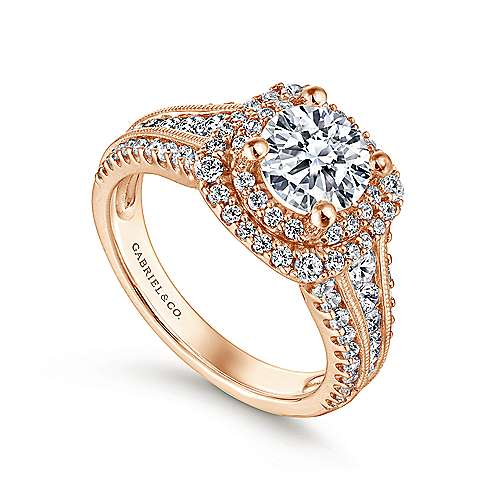 Henrietta 14k Rose Gold Round Double Halo Engagement Ring angle 3