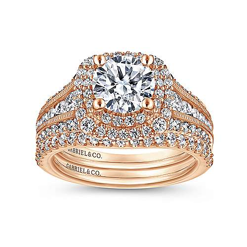 Henrietta 14k Rose Gold Round Double Halo Engagement Ring angle 4