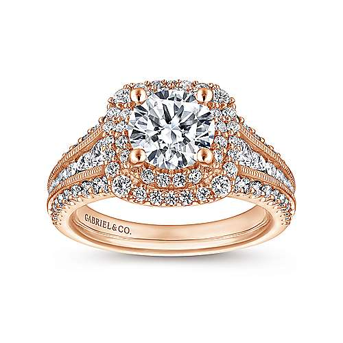 Henrietta 14k Rose Gold Round Double Halo Engagement Ring angle 5