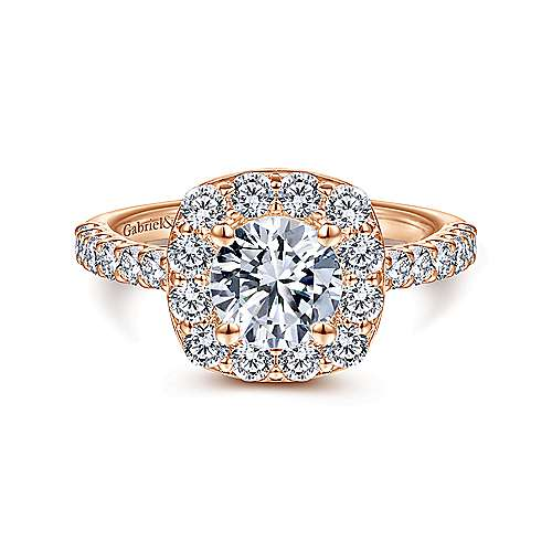 Henrietta 14k Rose Gold Round Halo Engagement Ring angle 1