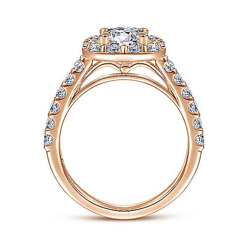 Henrietta 14k Rose Gold Round Halo Engagement Ring angle 2