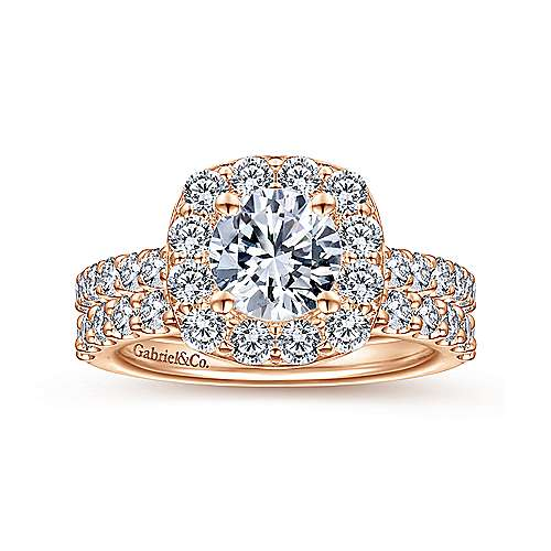 Henrietta 14k Rose Gold Round Halo Engagement Ring angle 4