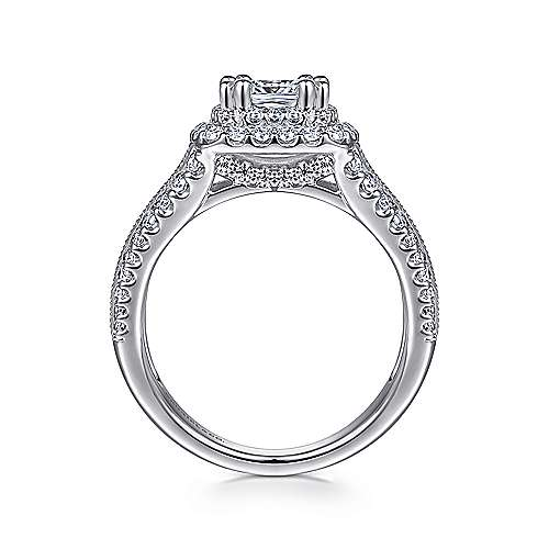 Henrietta 14k White Gold Cushion Cut Double Halo Engagement Ring angle 2