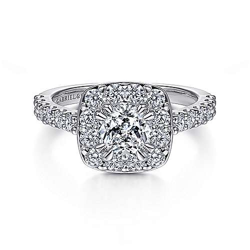 Gabriel - Henrietta 14k White Gold Cushion Cut Halo Engagement Ring