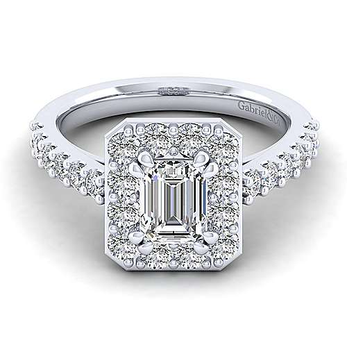 Gabriel - Henrietta 14k White Gold Emerald Cut Halo Engagement Ring