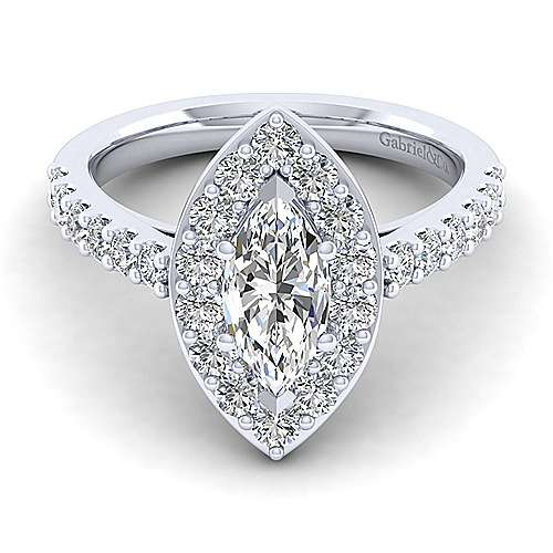 Gabriel - Henrietta 14k White Gold Marquise  Halo Engagement Ring