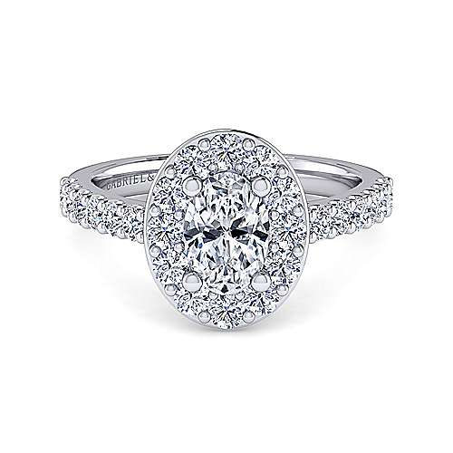 Gabriel - Henrietta 14k White Gold Oval Halo Engagement Ring