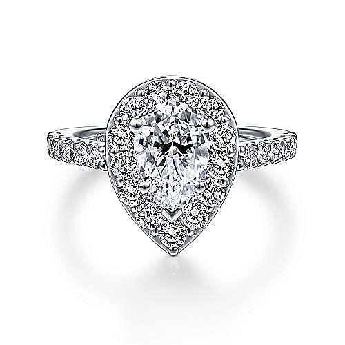Gabriel - Henrietta 14k White Gold Pear Shape Halo Engagement Ring