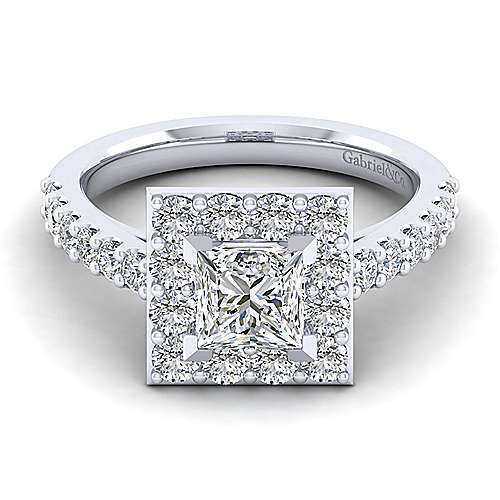 Gabriel - Henrietta 14k White Gold Princess Cut Halo Engagement Ring
